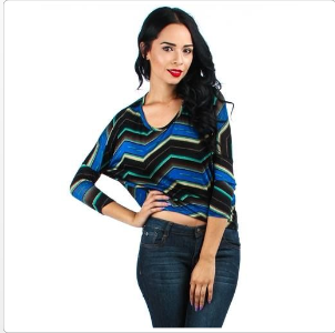 Blue Chevron Printed Hacchi Lyss Loo Top