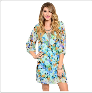 Mint Floral Shift Dress