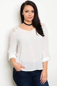 Chiffon Blouse with Lace Plus Size