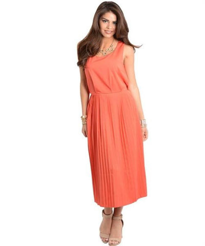 Apparel Dress Maxi Orange Pleated Skirt