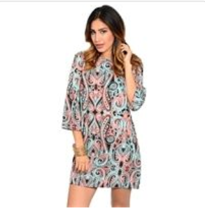 Coral & Blue Paisley Shift Dress
