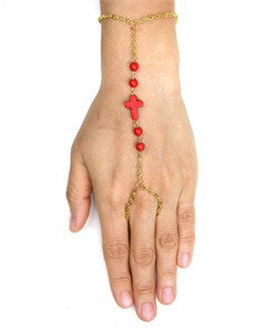 Bracelet Slave Cross Beads Red