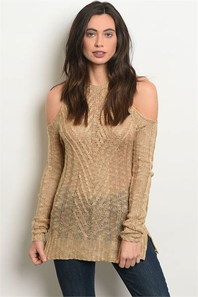 Khaki Long Sleeve Knit Tunic with Cold Shoulder