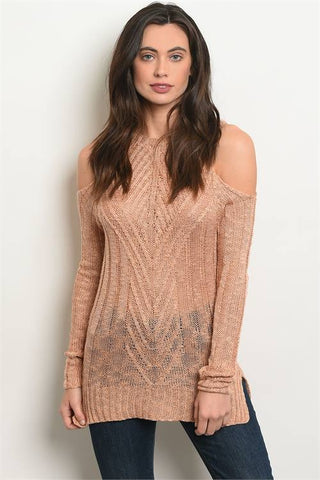 Blush Long Sleeve Knit Tunic with Cold Shoulder