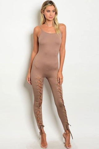 Mocha Jumpsuit with lace up detail