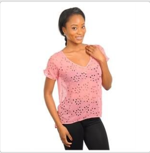 Pink Chiffon Blouse with Floral Cut Outs.