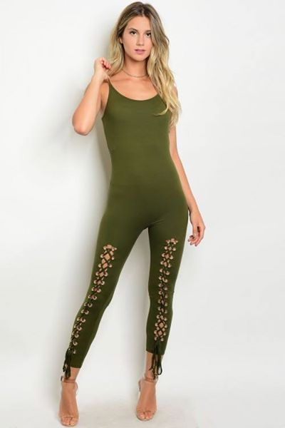 Olive Jumpsuit with lace up detail