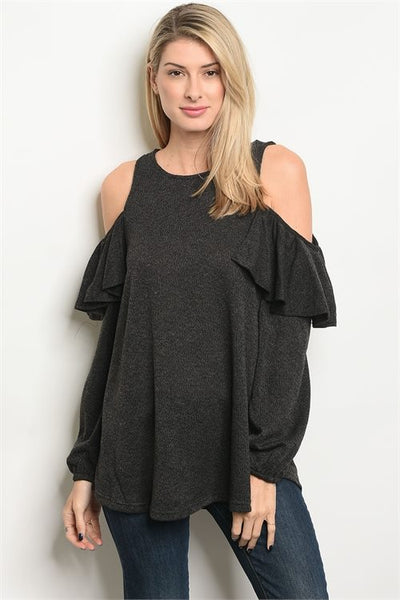 Long Sleeve Top Tunic with Cold Shoulder and Ruffle