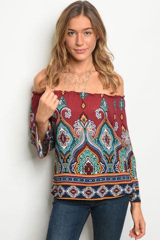 Wine Bohemian Print Top with off the shoulder option
