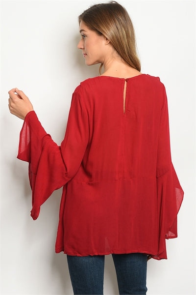 Wine long bell sleeve lace up front detail tunic blouse