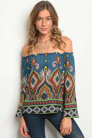 Teal Bohemian Print Top with off the shoulder option