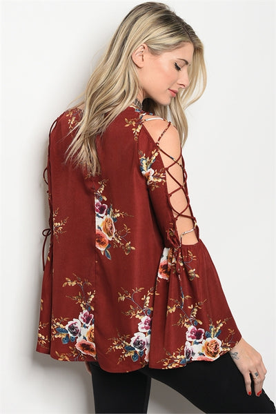 Wine Floral Print Lace Up Sleeve Blouse
