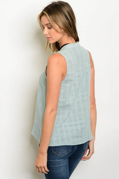 Sleeveless Mint Lace Up V Neck Blouse