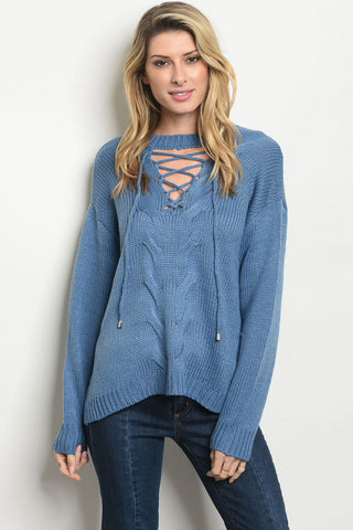 Soft Soft Long Sleeve Blue Lace Up Sweater