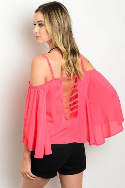 Coral Blouse with Back Cut Out and Open Shoulders