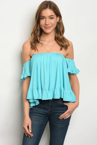 Aqua Ruffled Off the Shoulder Top