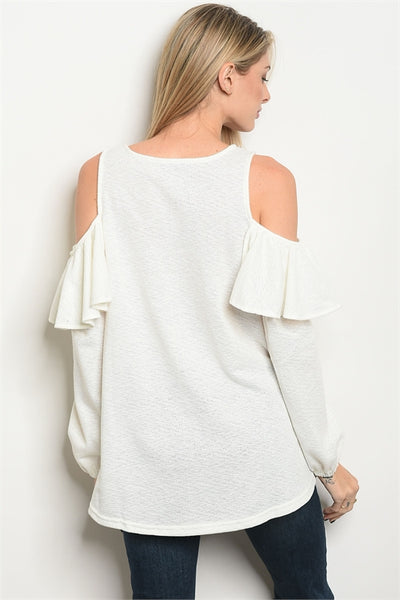 White  Long Sleeve Top Tunic with Cold Shoulder and Ruffle