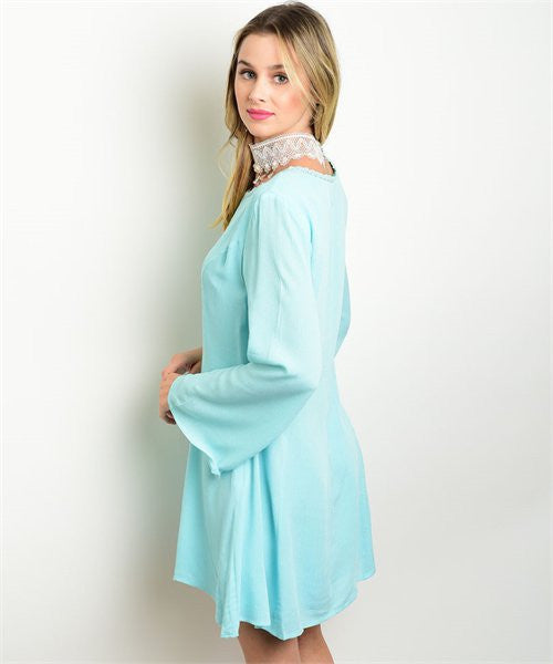 Dress Long Sleeve Bell Sleeve Mint