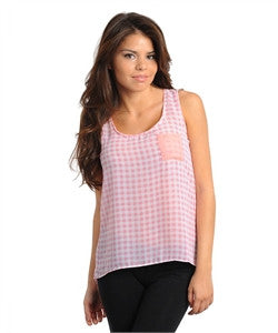 Pink Sleeveless Chiffon High, Low Top with a Checkered Pattern and Solid Pink Breast Pocket