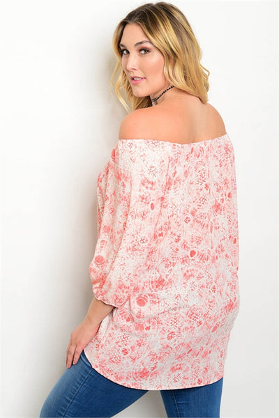 Plus Size Coral Patterned Blouse can be worn off the Shoulder