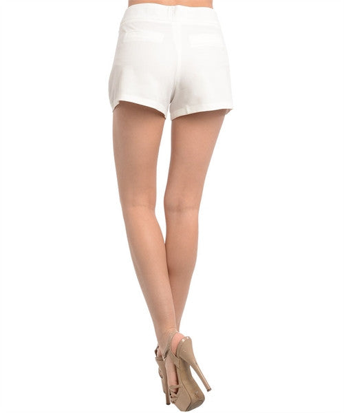 Shorts Ivory with Gold Button Embellishments