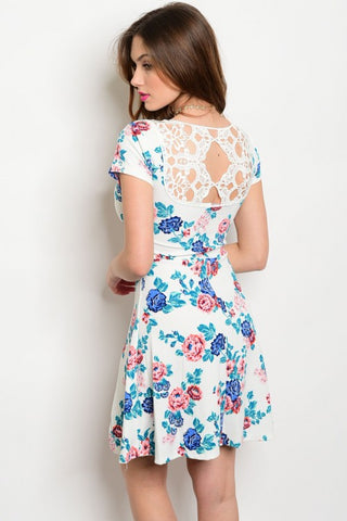 Floral Print Dress with Crochet Back