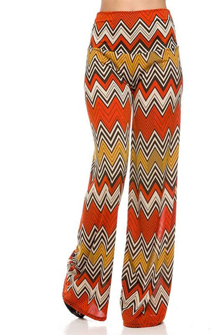 Chevron Printed High Waist Palazzo Pants