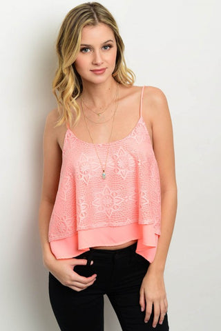 Spaghetti String Chiffon Top with Lace Overlay