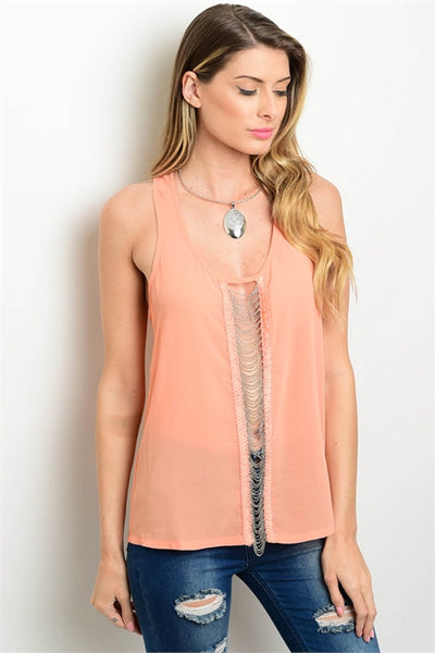 Chiffon Blouse Adorned with Chain