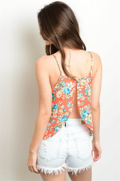 Floral Chiffon Blouse with Open Back.