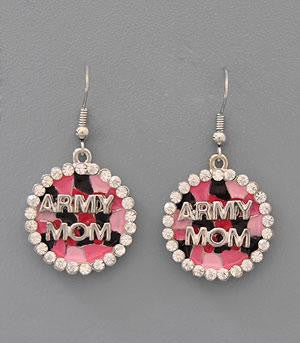 Collections Military, Army Mom Jewelry Earrings Fish Hook Round
