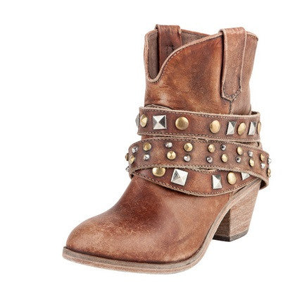 Shortie Boot Ankle Strap Studded Cognac LD 5042
