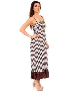 Dress Maxi Spaghetti Strap Chevron Brown