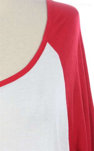 Raglan Tee Red and Off White 67318