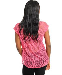 Lace Back Chiffon Coral Blouse