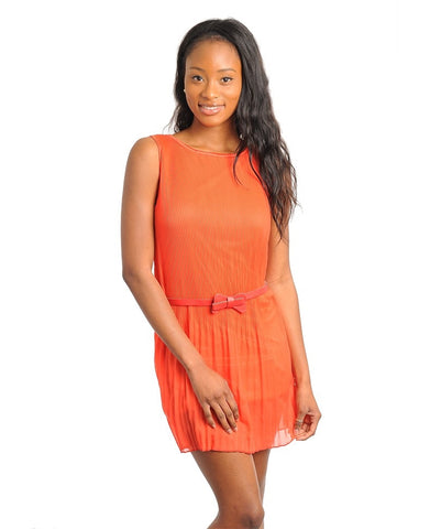 Apparel Dress Sleeveless Chiffon Orange