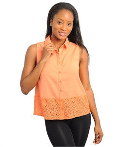 Apparel Top Sleeveless Collar Orange