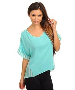 Apparel Top Short Sleeve Chiffon Stripe Mint Blouse