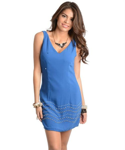 Blue Sleeveless V Neck Dress with Zig Zag Studded Hemline and Back Cut Out