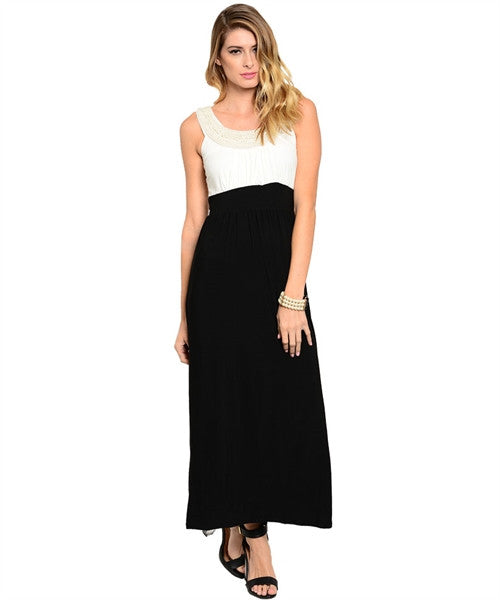 Maxi Dress with Pearls Two Tone Black and Ivory