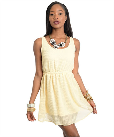 Apparel Dress Sleeveless Cutout Back Yellow