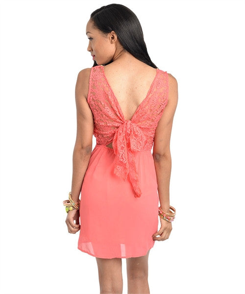 Dress Coral Rhinestone 11324