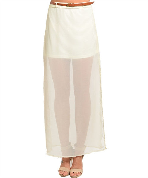 Maxi Skirt With Belt Ivory