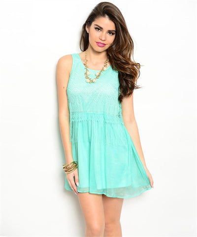 Mint Dress with Back Cutout, Lace Bodice and Fringe