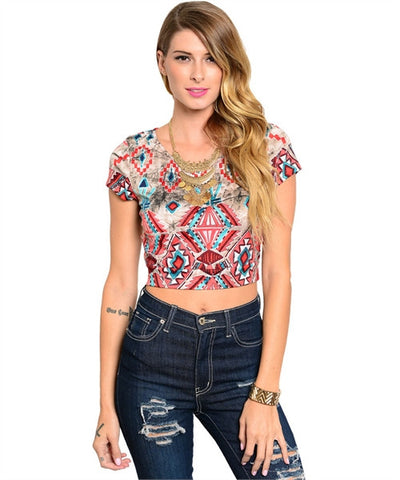 Top Khaki Red Aztec