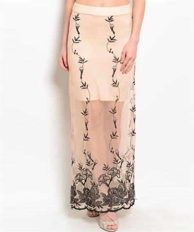 Nude skirt with Beautiful Embroidered Detail