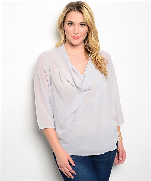 Grey Plus Size Top with Cowl Neck and 3/4 Sleeves