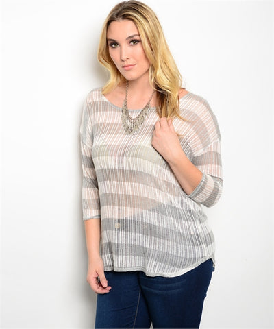 Plus Size Grey and White Striped Top with 3/4 Sleeves