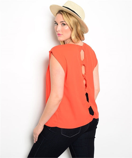 Top Plus s/s Orange Cutout Back