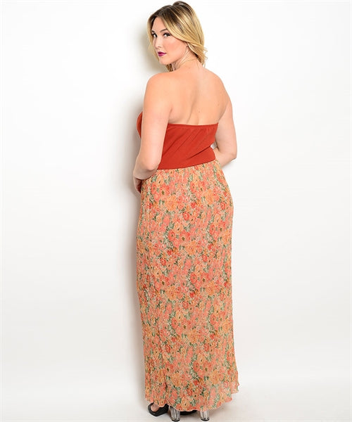 Plus Size Strapless Maxi Dress